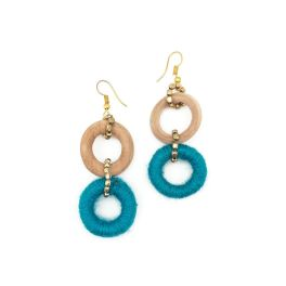 Sachi Bold Whimsy Collection Earrings - Blue, Wood Beads