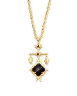 Kendra Scott Cass Gold Large Long Pendant Necklace In Black Banded Agate
