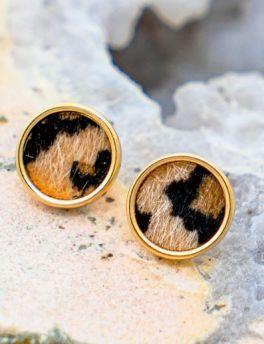 Little Leopard Earrings - Brown