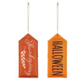 Halloween Thanksgiving Reversible Door Tag