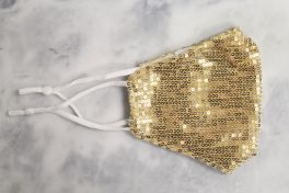 Adult Sequin Adjustable Face Mask - Gold
