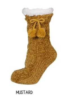 Simply Southern Chenille Camper Socks - Mustard