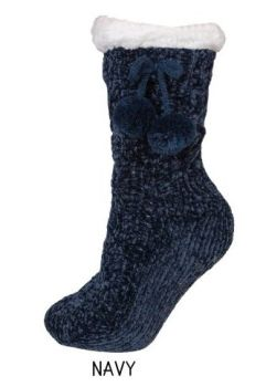 Simply Southern Chenille Camper Socks - Navy