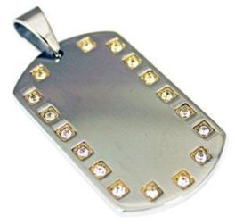 Large Stainless Steel Dog Tag Engravable Pendant