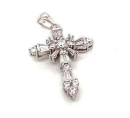 Sterling Silver Cross Pendant with Cubic Zirconias