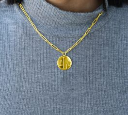 Sterling Silver Paper Clip Chain With Engravable Disc - Gold Plated