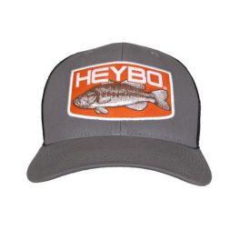 Heybo Big Bass Orange Patch Trucker Hat - Charcoal