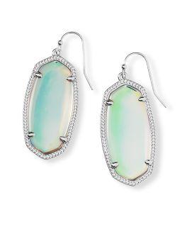 Kendra Scott Elle Silver Drop Earrings In Dichroic Glass