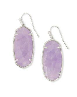 Kendra Scott Faceted Elle Silver Drop Earrings In Purple Amethyst