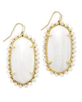 Kendra Scott Beaded Danielle Gold Drop Earrings In White Mussel