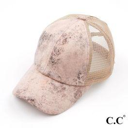 CC Vintage Faux Leather Pony Hat - Rose