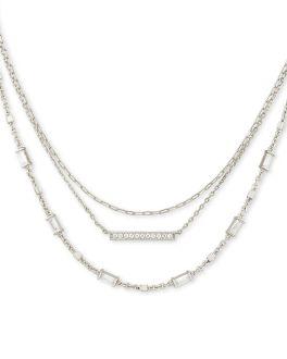 Kendra Scott Addison Triple Strand Necklace In Silver