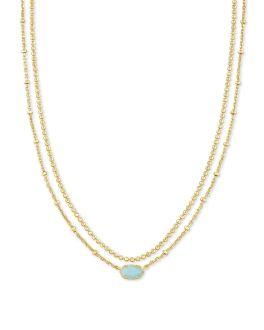Kendra Scott Emilie Gold Multi Strand Necklace In Light Blue Magnesite