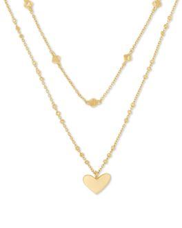 Kendra Scott Ari Heart Multi Strand Necklace In Gold