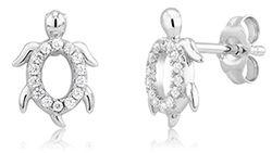 Sterling Silver CZ Turtle Earrings