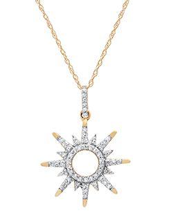 Ladies 10Kt Yellow Gold 1/6CTTW Diamond Sunburst Necklace