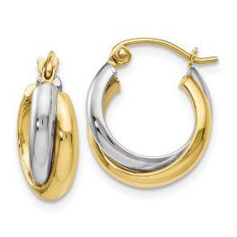 Ladies 10K Two-Tone Polished Hinged Hoop Earrings
