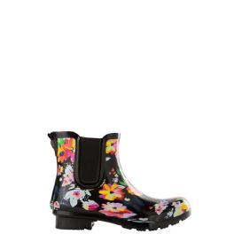Roma Chelsea Black Floral Women's Rain Boots