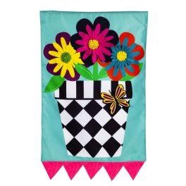 Hello Flower Pot House Flag