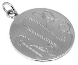 Sterling Silver Medium Round Engravable Pendant
