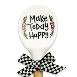 Make Today Happy Silicone Wood Spoon