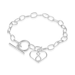 Sterling Silver Open Heart With Infinity Toggle Bracelet