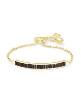 Kendra Scott Jack Adjustable Gold Chain Bracelet In Black Spinel