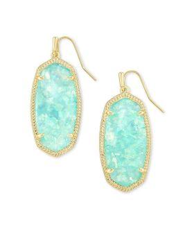 Kendra Scott Elle Gold Drop Earrings In Iridescent Mint Illusion
