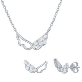 Sterling Silver Wing Necklace & Earrings Set