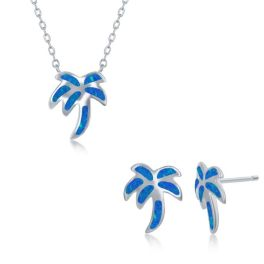 Sterling Silver Blue Inlay Opal Palm Tree Necklace & Earrings Set
