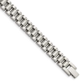 Men's Stainless Steel Polished & Brushed Link Bracelet - 8.5""