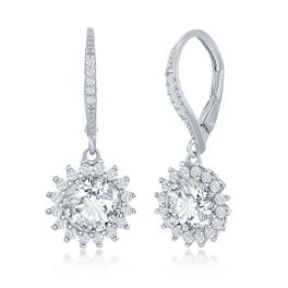 Sterling Silver Round Halo Flower CZ Dangle Earrings