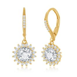 Sterling Silver Round Halo Flower CZ Earrings - Gold Plated