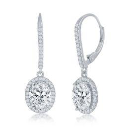 Sterling Silver Oval CZ Halo Earrings
