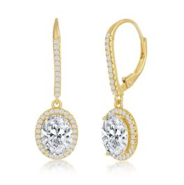 Sterling Silver Oval CZ Halo Earrings - Gold Plated