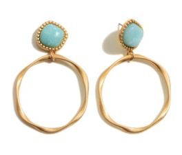 Today's The Day Earrings - Gold/Mint
