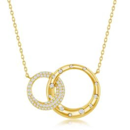 Sterling Silver Micro Pave Circles Necklace - Gold Plated