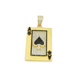 Sterling Silver Ace Of Spades CZ Pendant - Gold Plated