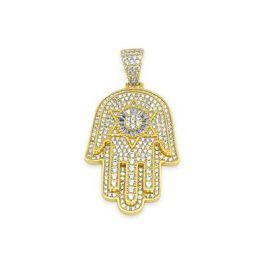 Sterling Silver Hamsa Hand CZ Pendant - Gold Plated