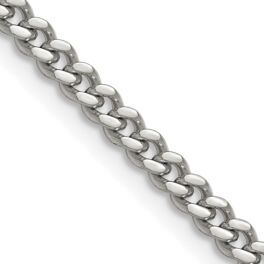 """Stainless Steel Polished 4mm Curb Chain - 24"""""""