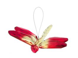Acrylic Hanging Dragonfly - Fuchsia/Green
