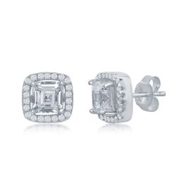 Sterling Silver Double Square Cubic Stud Earrings
