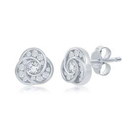 Sterling Silver Love Knot Cubic Zirconia Stud Earrings