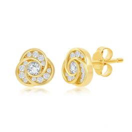 Sterling Silver Love Knot Cubic Zirconia Stud Earrings - Gold Plated