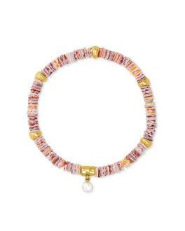 Kendra Scott Lila Vintage Gold Stretch Bracelet In Pastel Shells