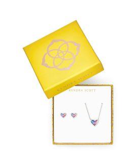 Kendra Scott Ari Heart Necklace & Earrings Gift Set In Watercolor Illusion