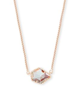 Kendra Scott Tess Rose Gold Pendant Necklace In Dichroic Glass