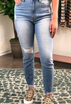 Just Be You Skinny Ankle Jeans -  Light Wash