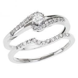 Ladies 14K White Gold Diamond Engagement Set - .27Ct - Size 7