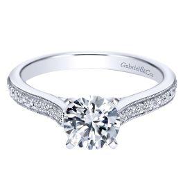 14k White Gold .22ct Round Cut Diamond Straight Engagement Ring